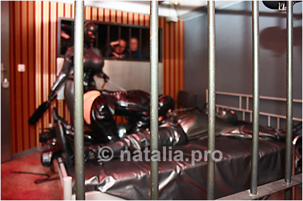 """rubber-heavy-latex-prisoner-inmate-prison-jail-cage-punishment-penalty-mask-constraint-bondage-warden-chain-masochist-masochistic-devot-submissive-sub-kidnapping"""